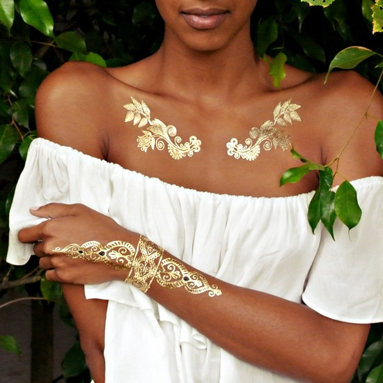 Flash Tattoo , Gold foil metallic tattoos  สติ๊กเกอร์แทททู สีทอง เมทัลลิค