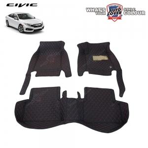 พรมเข้ารูป 6 D Leather Car Mat จำนวน 3 ชิ้น HONDA ALL NEW CIVIC SEDAN & HATCH (FC,FK) 2016-2020