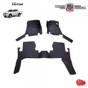 พรมรถยนต์ 6 D Leather Car Mat จำนวน 3 ชิ้น MITSUBISHI ALL NEW TRITON 4 DOOR ปี 2015-2019