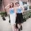 พร้อมส่ง-เดรสชีฟองตัดต่อเสื้อยืดสีขาว แต่งเสื้อยีนส์สุดแนวด้านหน้า สไตล์เกาหลี มี สีขาว สีดำ thumbnail 1