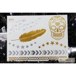 G-027 สติ๊กเกอร์ แทททู สีทอง Flash Tattoos sticker ลายขนนก หัวกระโหลก