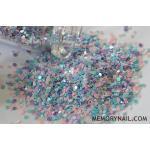 กากเพชร พิเศษ NP-011 ทรงกลม1มิล คละสีม่วงฟ้าชมพู ขวดแก้ว
