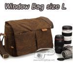กระเป๋ากล้องหนังแท้ และแคนวาส Window Bag Size L สีน้ำตาล