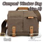 กระเป๋ากล้องหนังแท้ ผ้าแคนวาส มีหูหิ้ว Compact Window Bag Size M สีกากี