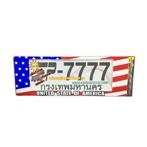 ป้ายทะเบียนกันน้ำ ธงชาติอเมริกา ยาว+ยาว แบบที่ 2