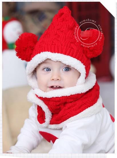 CN102-31 Set หมวก+ผ้าพันคอกันหนาว บุขนกำมะหยี่นุ่ม สำหรับเด็ก 6 เดือน-3 ขวบ