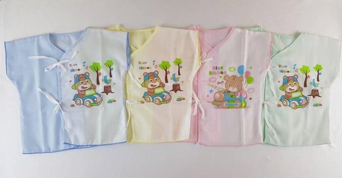 เสื้อผูกหน้าผ้าป่านอย่างดี (แรกเกิด-3 เดือน ) แพค 2 ตัว