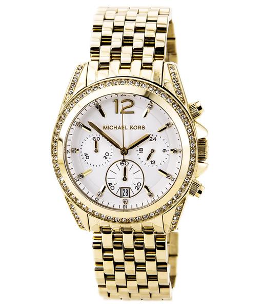 นาฬิกา Michael Kors ไมเคิล คอร์ รุ่น MK5835 Pressley Chronograph White Dial Gold-tone Ladies Watch