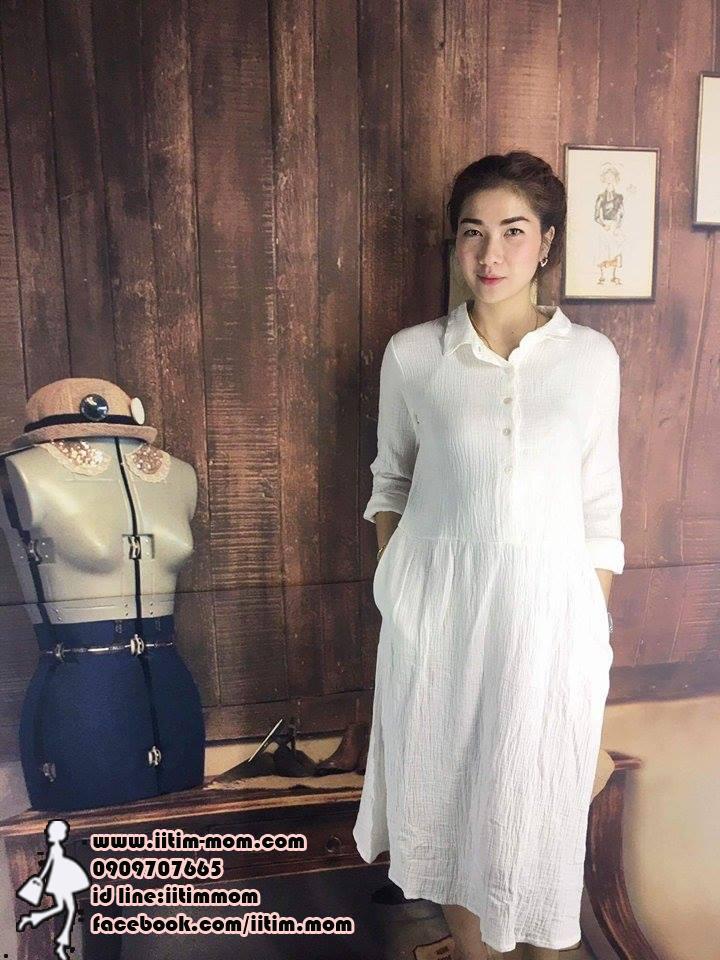 maxi dress เชิ๊ตขาวบริสุทธิ์ ผ้านุ่ม แขนยาว ใส่เที่ยวหรือทำงานได้นะค่ะ สีขาว