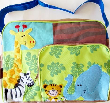 กระเป๋าสัมภาระคุณแม่ น้ำตาลเขียวลายสัตว์ป่า ขนาด 18x32x40 cm.