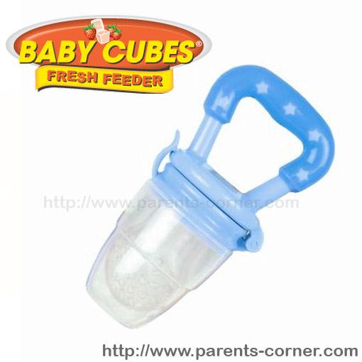 ซิลิโคนใส่อาหารหัดถือทานเอง Baby cubes - สีฟ้า