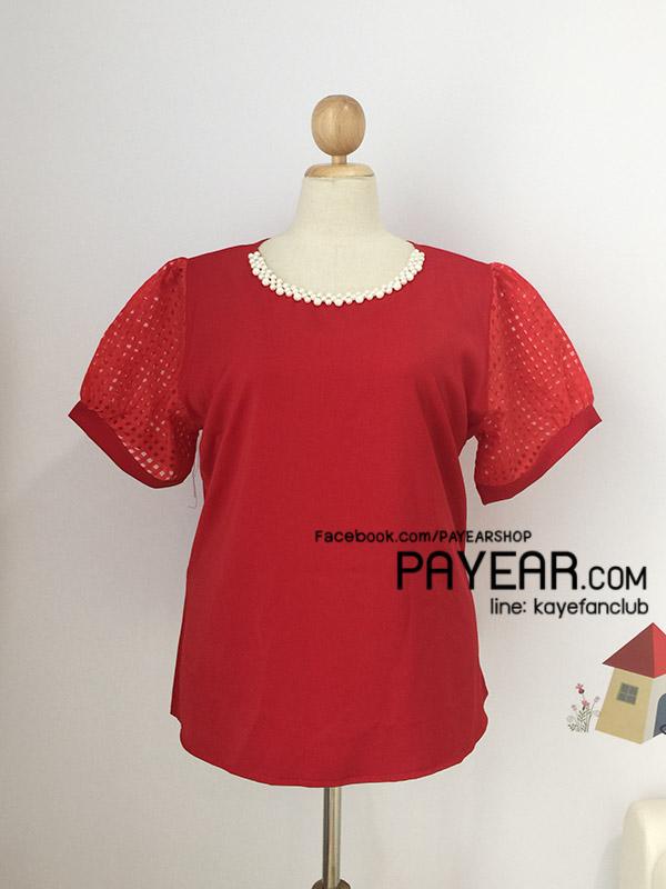เสื้อ ผ้าฮานาโกะ แต่งคอมุก แขนตาราง สีแดง อก 52 นิ้ว