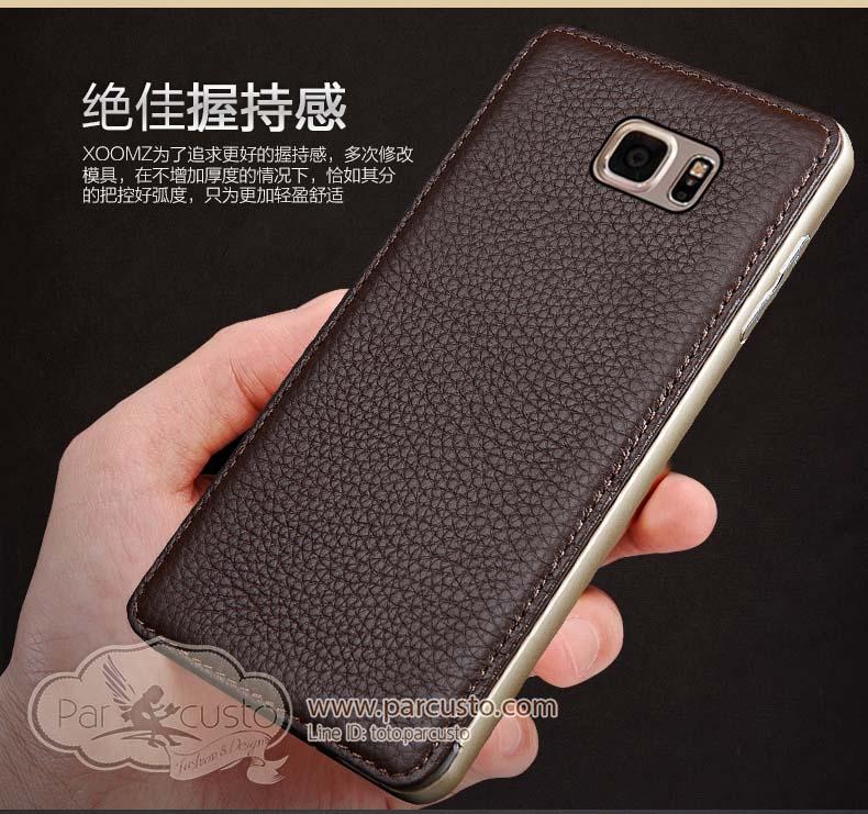 เฟรมอลูมิเนียมหลังหนังแท้ Samsung Galaxy Note 5 จาก Wobiloo [Pre-order]
