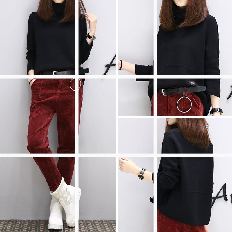 ชุด 2 ชิ้น เสื้อแฟชั่น คอเต่า แขนยาว + กางเกงขายาว ผ้าลูกฟูก สีแดง