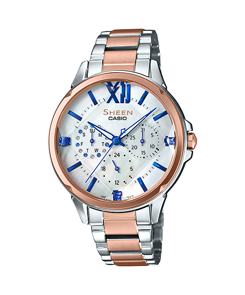 นาฬิกา คาสิโอ Casio SHEEN BLUE&PINK GOLD COLOR SERIES รุ่น SHE-3056SPG-7A ของแท้ รับประกัน1ปี