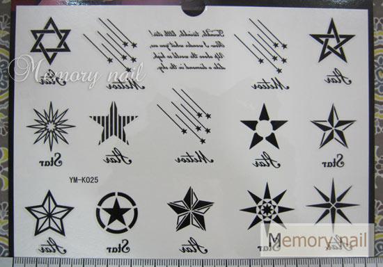 YM-K025 สติ๊กเกอร์สักแฟชั่น sticker tattoo ลายดาว15.5x10.8 cm