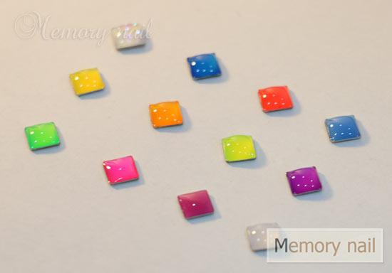 หมุดทรงหลี่ยม เรซินใส 12 สี ขนาด 5มิล