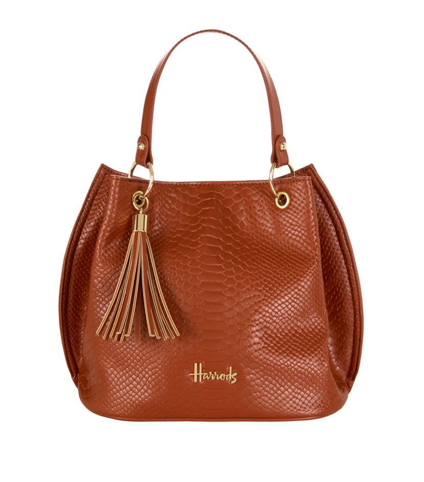 กระเป๋าแฮร์รอดส์ของแท้ Ash Embossed Bucket Bag สำเนา