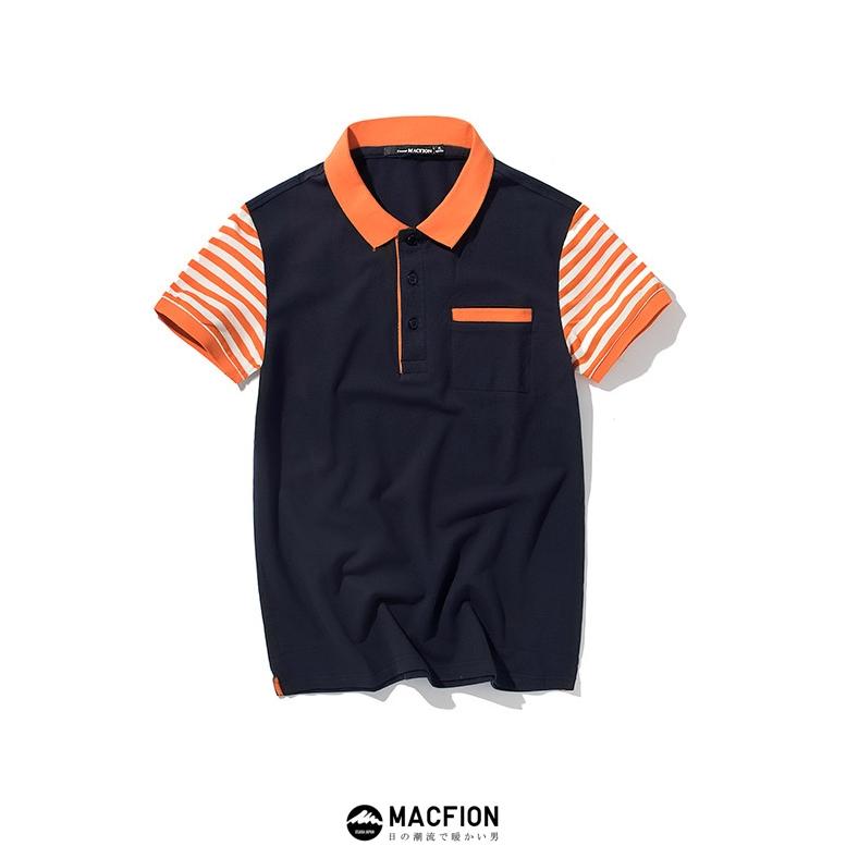 Macfion เสื้อแฟชั่นผู้ชาย เสื้อปกเชิ๊ต แขนสั้นลายขวางส้ม ผ้าฝ้าย สีกรมท่า