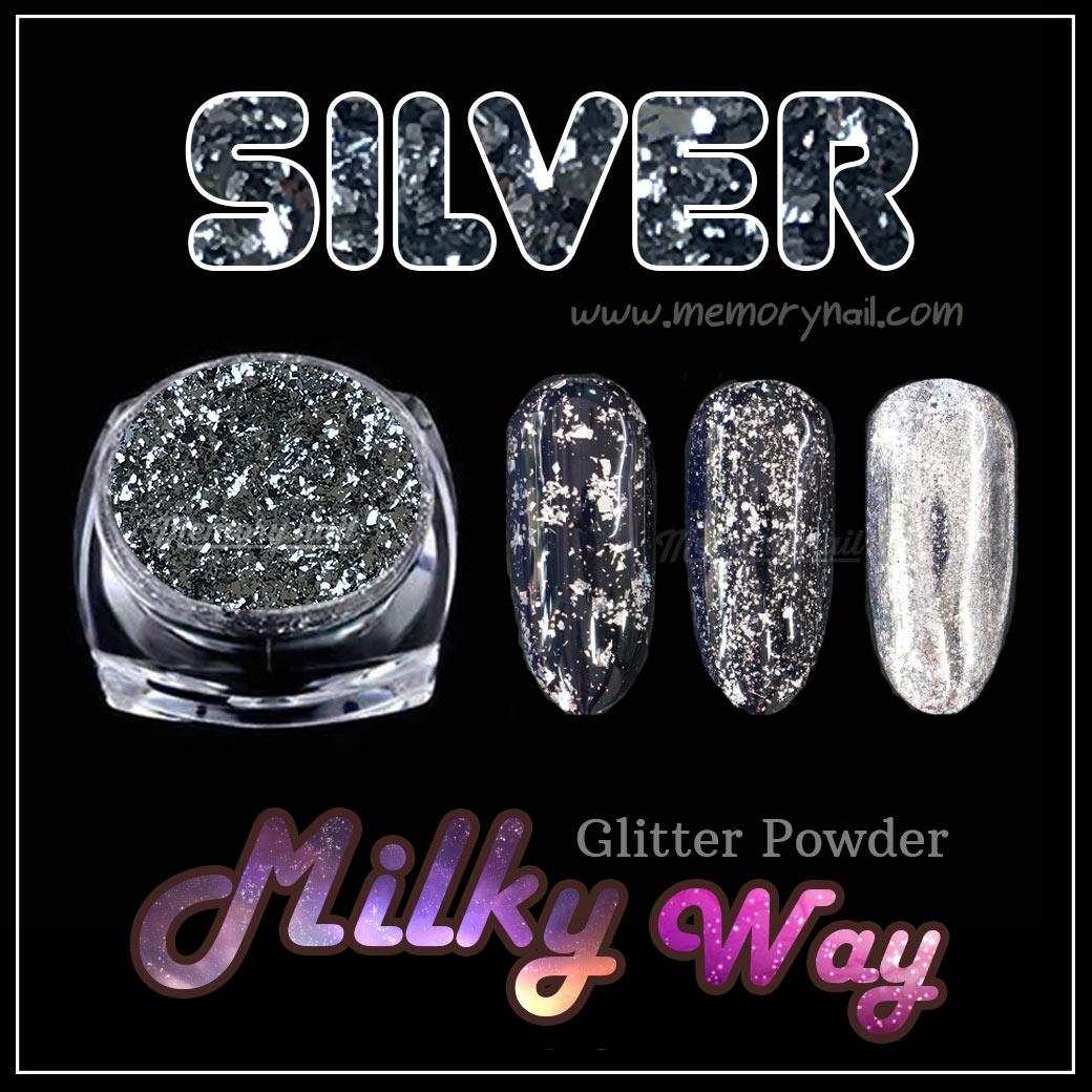 Silver Milky Way glitter powder ผงเกร็ดทางช้างเผือก สีเงิน