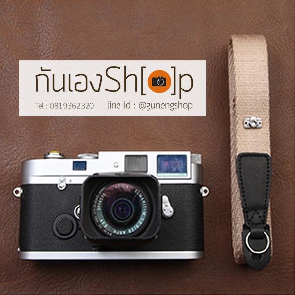 สายคล้องกล้อง cam-in สีพื้นเส้นเล็ก สีครีม แบบห่วง 25 mm