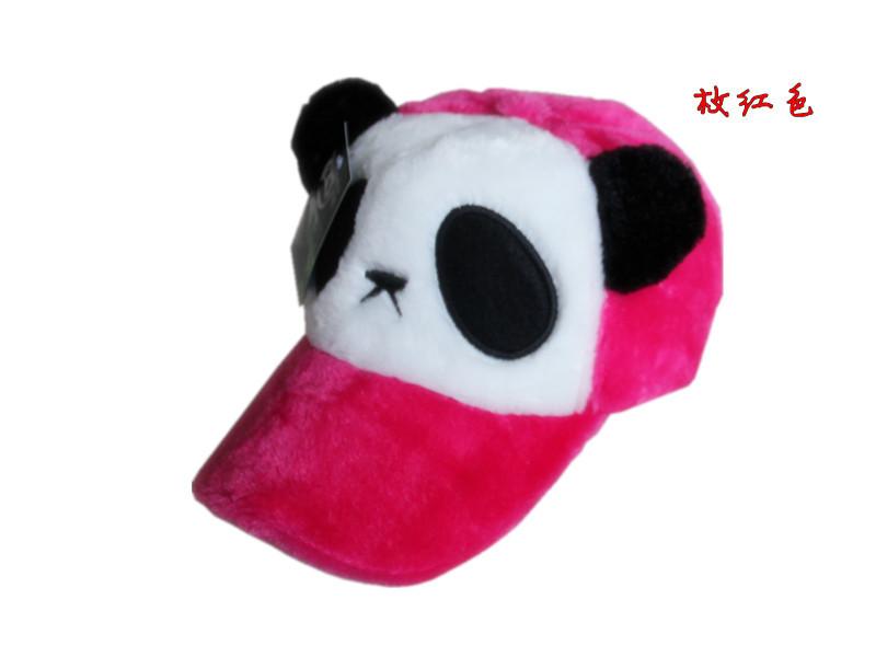 หมวกหมีแพนด้าขนปุย สีชมพูเข้ม
