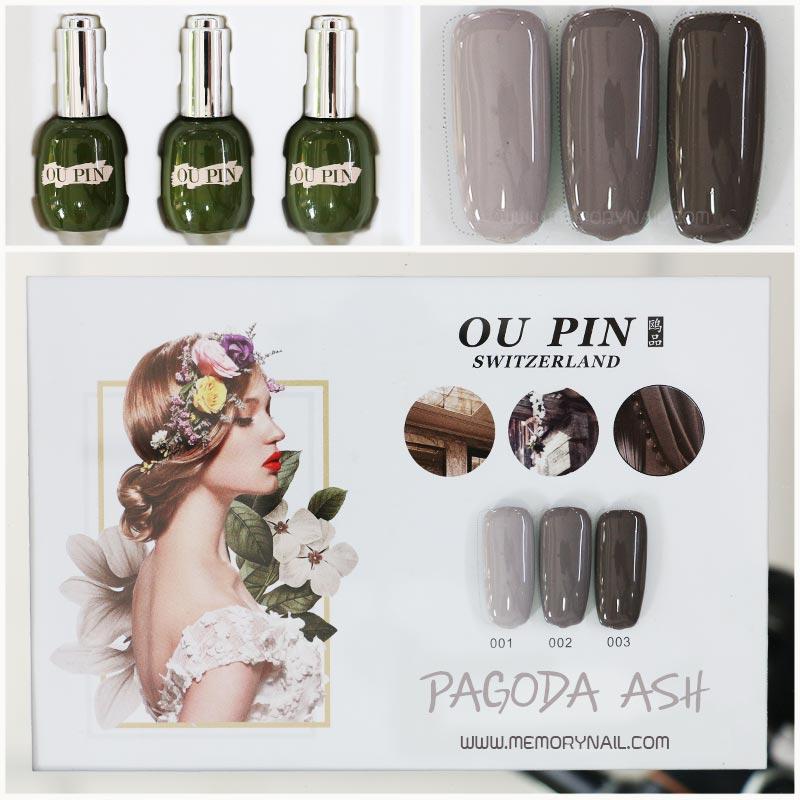 สีเจลทาเล็บ OU PIN ชุด3สี ชื่อโทนสี PAGODA ASH พร้อมกรอบรูป เนื้อสีดี เข้มข้น คุณภาพเหนือราคา
