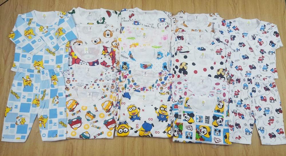 ชุดนอนเด็กผ้าคอตตอนแบบหนา (แพค 3 ชุด)