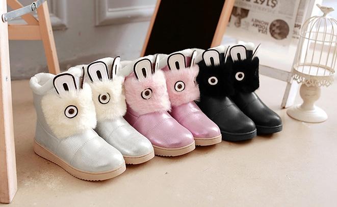 C114-43 รองเท้ากันหนาวเด็กหนัง PU ลายน่ารัก กันน้ำกันลื่นได้ดี มี 3 สีให้เลือก สีเงิน สีดำ สีชมพู size 32-38