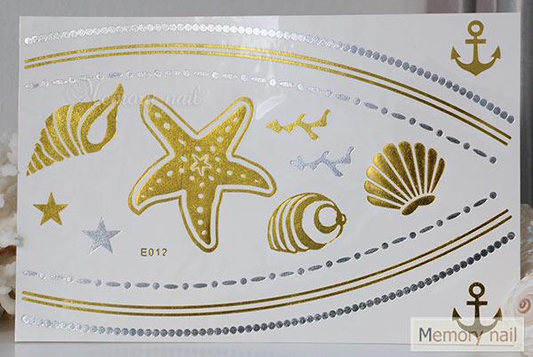 สติ๊กเกอร์แทททูทอง รหัส E-012  สติ๊กเกอร์แทททู เมทัลลิก เงิน ทอง  ลาย เส้น สร้อยคอ สร้อยข้อมือ ปลาดาว