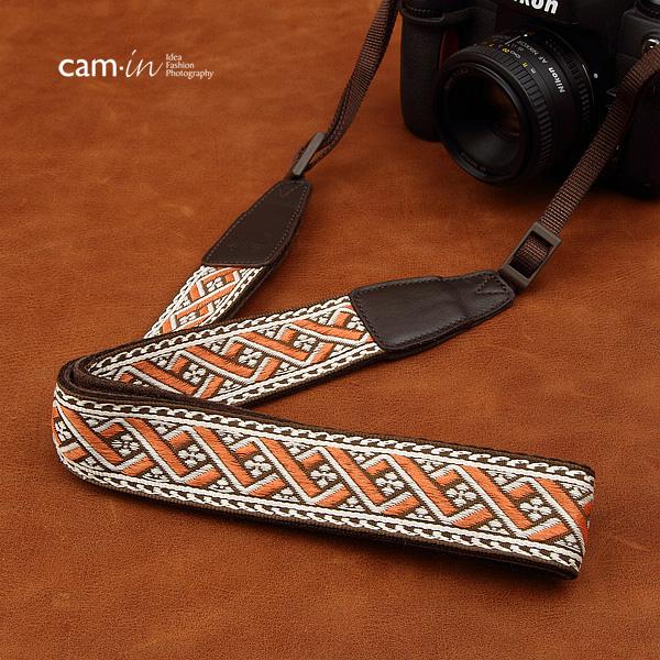 สายคล้องกล้องลายถักทอง cam-in Weaving Brown