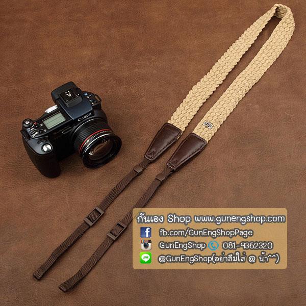 สายคล้องกล้อง cam-in Soft Cotton Twist light Light Brown ปลายน้ำตาล