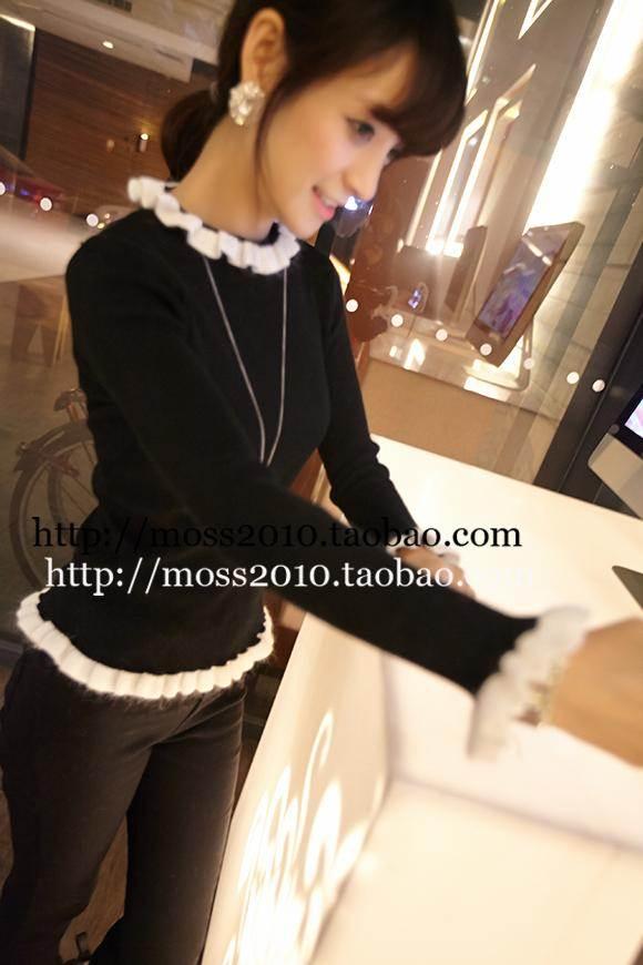 (SALE) เสื้อแขนยาว ผ้ายืด แต่งขอบด้ยผ้าถัก สีดำ (สินค้าจริงขอบเรียบ)