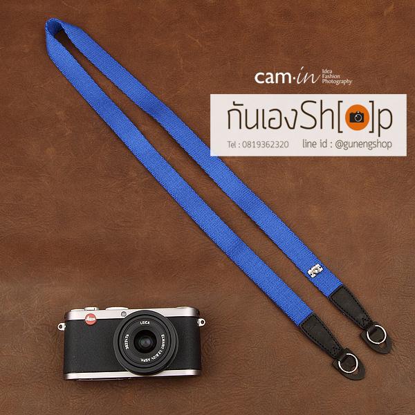 สายคล้องกล้อง cam-in สีพื้นเส้นเล็ก สีน้ำเงินสว่าง แบบห่วง 25 mm