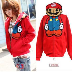 Pre-เสื้อกันหนาวมาริโอ้ สีแดง มีไซด์S,M,L,XL,XXL,XXL