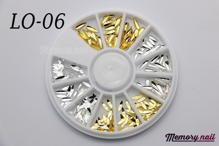 LO-06 โลหะ และหมุดทรงต่างๆ สีทอง สีเงิน กล่องกลม 1กล่อง มี 4แบบ