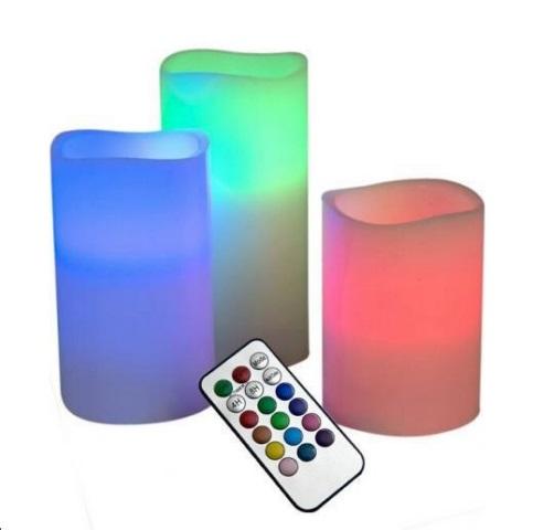 เทียน LED เปลี่ยนสีได้ 12 สี พร้อมรีโมท (แพ็ค 3ชิ้น)