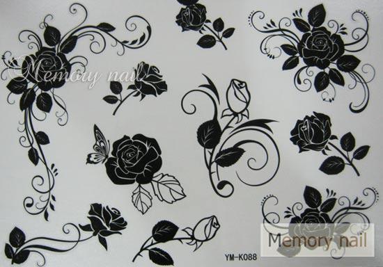 YM-K088 สติ๊กเกอร์สักแฟชั่น sticker tattoo ลายกุหลาบ โบ15.5x10.8 cm