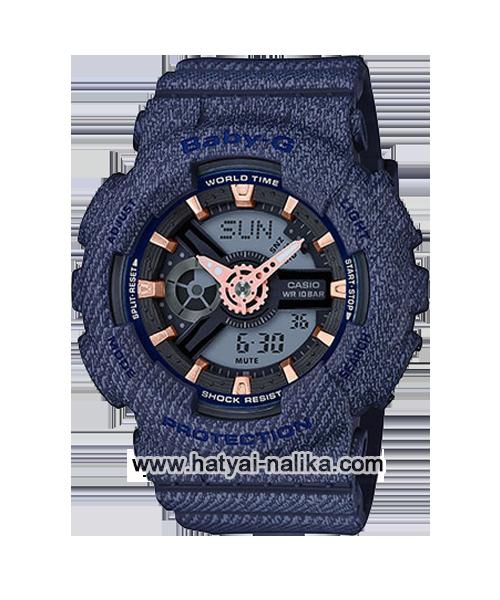 นาฬิกา Casio Baby-G ลายยีนส์ Special Color BA-110DE Denim fabric Elements series รุ่น BA-110DE-2A1 (สี Navy Blue Jean) ของแท้ รับประกัน1ปี
