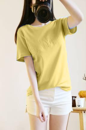 เสื้อแฟชั่น คอกลม แขนสั้น พิมพ์นูนลายอักษร สีเหลือง