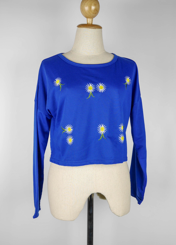 เสื้อแฟชั่น แขนยาว ลายดอกไม้ สีน้ำเงิน