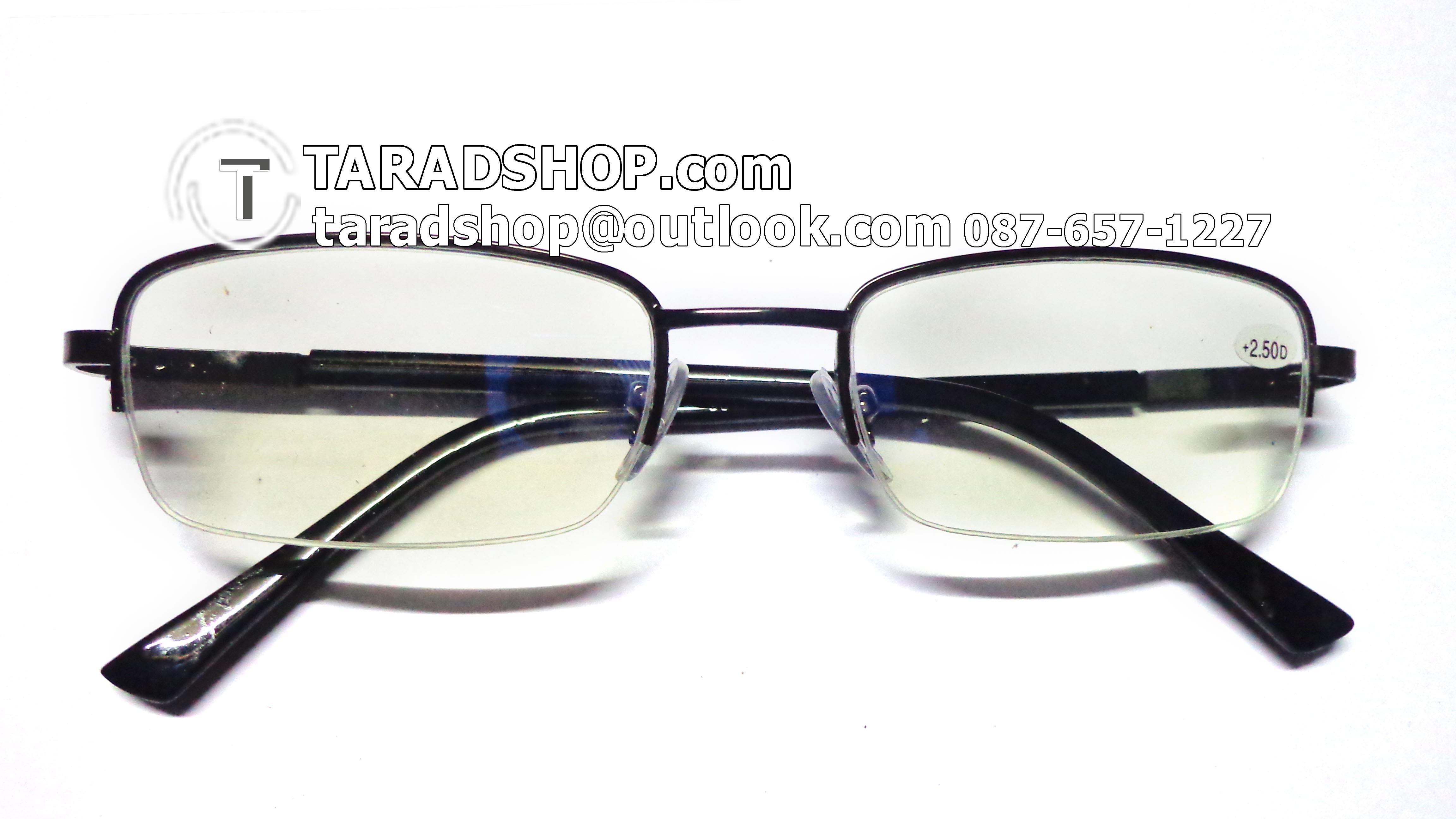 แว่นสายตา ยาว +2.50D ( สีเลนส์ กระจกใส ) สีกรอบ ขาว) ขา สแตนเลส