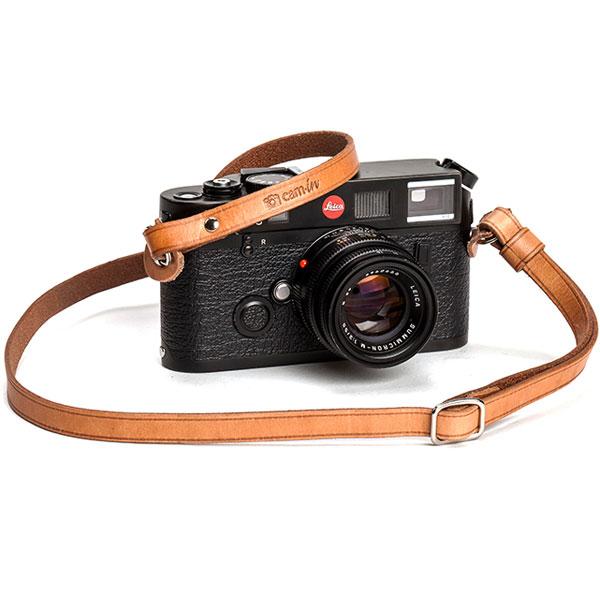 สายคล้องกล้องหนังแท้เส้นเล็ก Cam-in ปรับสายได้ สีน้ำตาลอ่อน
