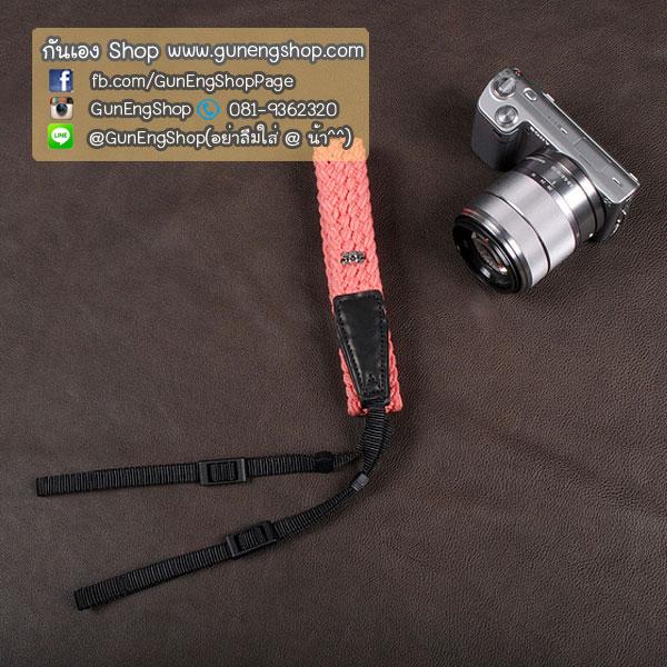 สายคล้องกล้อง cam-in Soft Cotton Twist light pink