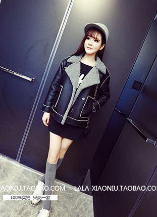 (ภาพจริง)โค้ทสั้นกันหนาวแฟชั่น แขนยาว ผ้าหนังเทียม PU บุผ้าขนสัตว์เทียม สีดำ