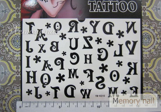YM-K016 สติ๊กเกอร์สักแฟชั่น sticker tattoo ลายตัวอักษร15.5x10.8 cm