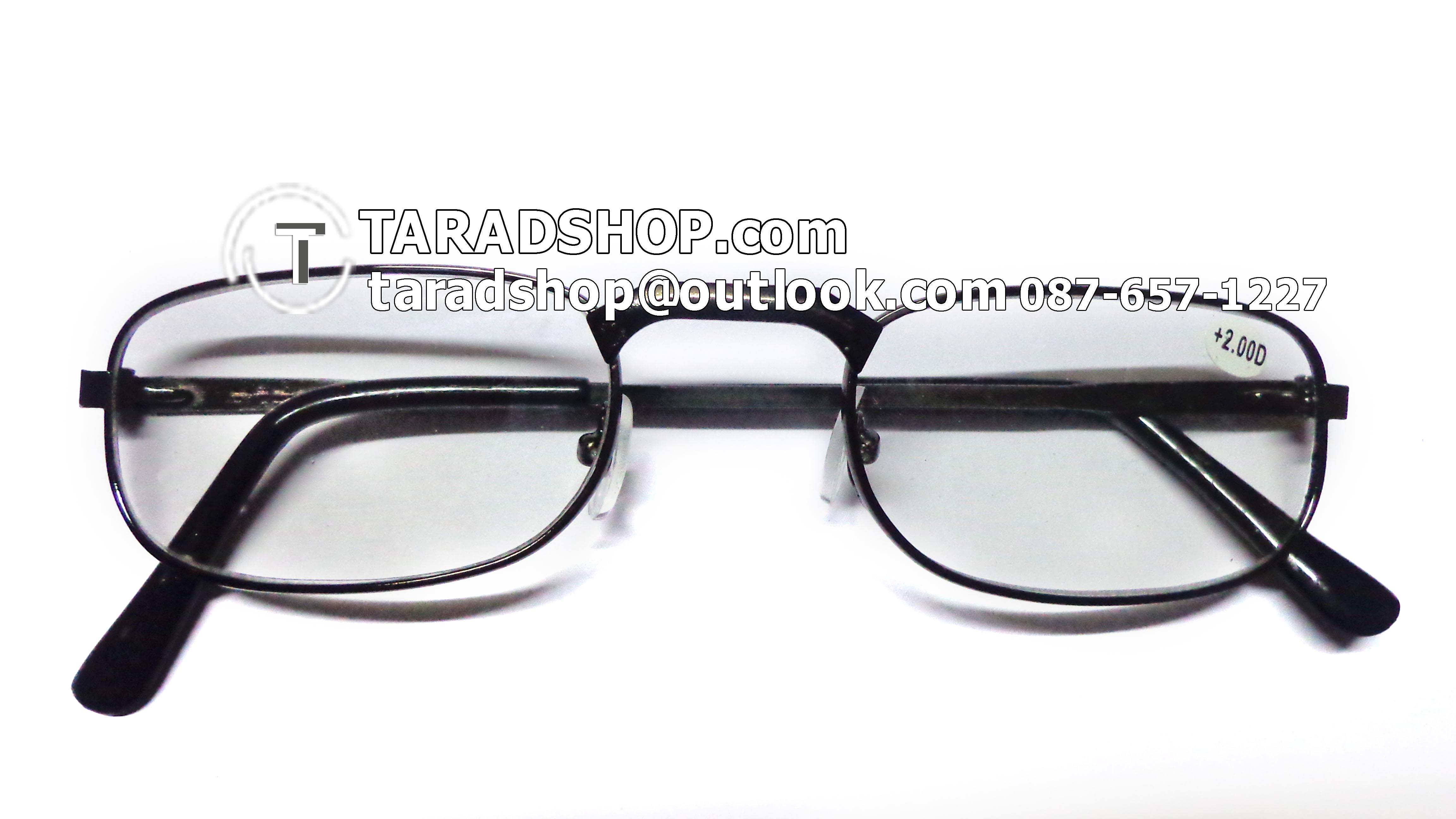 แว่นสายตา ยาว +2.00D ( สีเลนส์ กระจกใส ) สีกรอบ ดำ ) ขา สแตนเลส )