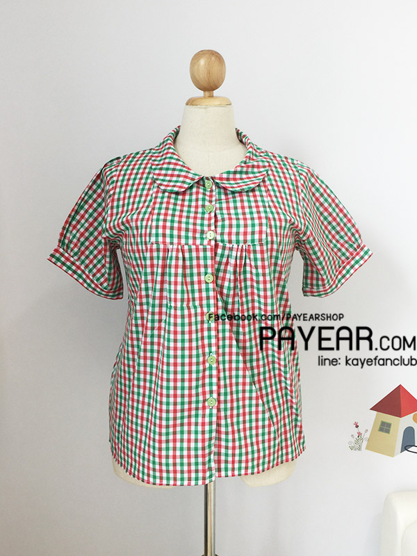 เสื้อ ผ้าคอตตอน คอบัว ลายสก็อต สีเขียว อก 46 นิ้ว