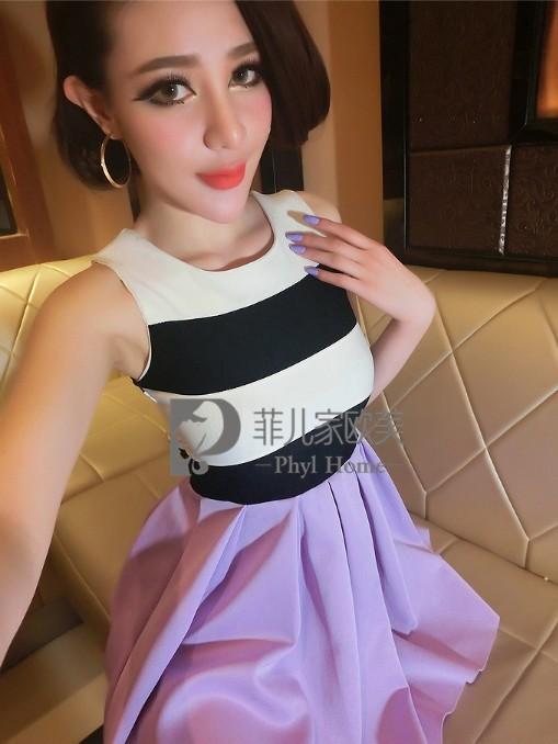 (SALE) เดรสผ้าฝ้ายผสม บนลายขวาง กระโปรงสีม่วง
