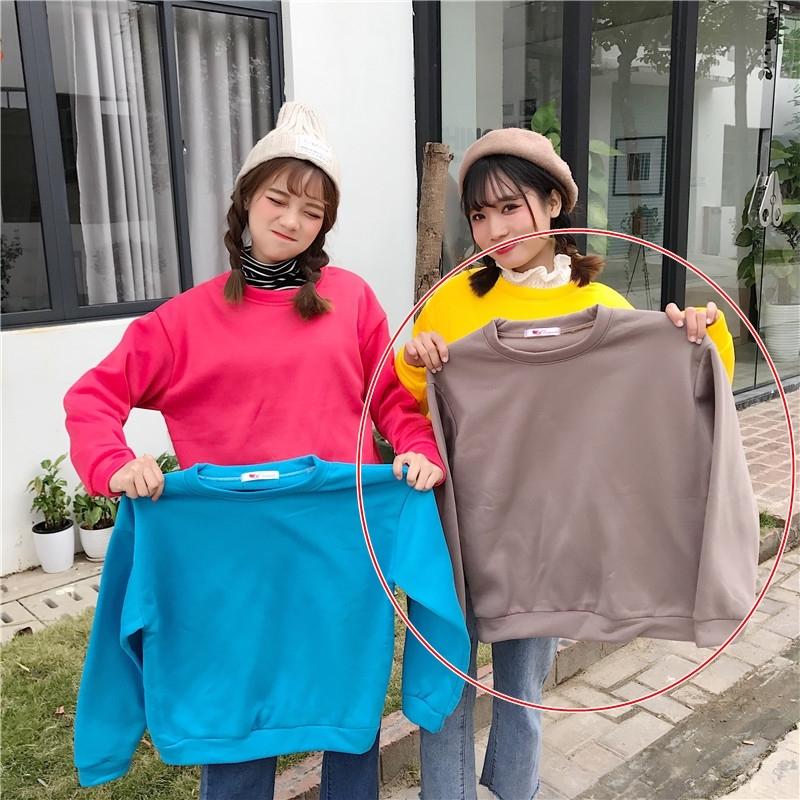 เสื้อกันหนาวแฟชั่น คอกลม แขนยาว สีพื้น สีน้ำตาล